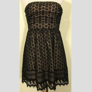 WET SEAL Black Beige Crochet Strapless DRESS Sz XL